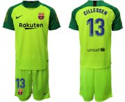 Wholesale Cheap Barcelona #13 Cillessen Green Goalkeeper Soccer Club Jersey
