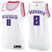 Wholesale Cheap Women's Sacramento Kings #8 Bogdan Bogdanovic White Pink Basketball Swingman Fashion Jersey