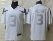 Wholesale Nike Seahawks #3 Russell Wilson White Men's Stitched NFL Limited Platinum Jersey