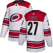 Wholesale Cheap Adidas Hurricanes #27 Justin Faulk White Road Authentic Stitched Youth NHL Jersey