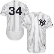 Wholesale Cheap Yankees #34 J.A. Happ White Strip Flexbase Authentic Collection Stitched MLB Jersey