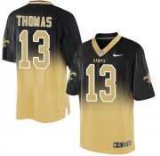 Wholesale Cheap Nike Saints #13 Michael Thomas Black/Gold Men's Stitched NFL Elite Fadeaway Fashion Jersey
