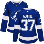 Cheap Adidas Lightning #37 Yanni Gourde Blue Home Authentic Women's Stitched NHL Jersey
