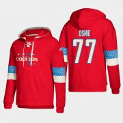 Wholesale Cheap Washington Capitals #77 T.J. Oshie Red adidas Lace-Up Pullover Hoodie