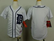 Wholesale Cheap Tigers Blank White Cool Base Stitched Youth MLB Jersey