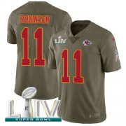 Wholesale Cheap Nike Chiefs #11 Demarcus Robinson Olive Super Bowl LIV 2020 Youth Stitched NFL Limited 2017 Salute To Service Jersey