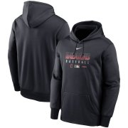 Wholesale Cheap Men's Cleveland Indians Nike Navy Authentic Collection Therma Performance Pullover Hoodie