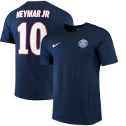 Wholesale Cheap Paris Saint-Germain #10 Neymar Santos Nike Neymar Name and Number Home T-Shirt Navy