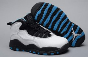 Wholesale Cheap Air Jordan 10 Retro Kids Shoes White/black-blue