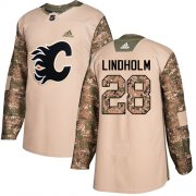 Wholesale Cheap Adidas Flames #28 Elias Lindholm Camo Authentic 2017 Veterans Day Stitched Youth NHL Jersey