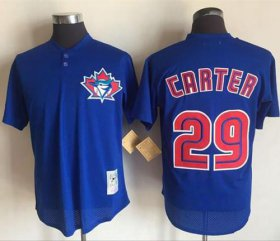 Wholesale Cheap Mitchell And Ness 1997 Blue Jays #29 Joe Carter Blue Throwback Stitched MLB Jersey