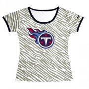 Wholesale Cheap Women's Tennessee Titans Sideline Legend Authentic Logo Zebra Stripes T-Shirt