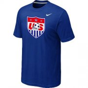 Wholesale Cheap Nike USA 2014 World Short Sleeves Soccer T-Shirt Blue
