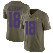 Wholesale Cheap Nike Vikings #18 Justin Jefferson Olive Men's Stitched NFL Limited 2017 Salute To Service Jersey