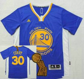 Wholesale Cheap Golden State Warriors #30 Stephen Curry Revolution 30 Swingman 2014 New Blue Short-Sleeved Jersey With 2015 Finals Champions Patch