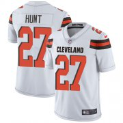 Wholesale Cheap Nike Browns #27 Kareem Hunt White Men's Stitched NFL Vapor Untouchable Limited Jersey