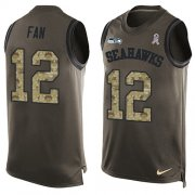 Wholesale Cheap Nike Seahawks #12 Fan Green Men's Stitched NFL Limited Salute To Service Tank Top Jersey