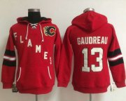 Wholesale Cheap Calgary Flames #13 Johnny Gaudreau Red Women's Old Time Heidi NHL Hoodie