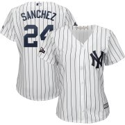 Wholesale Cheap New York Yankees #24 Gary Sanchez Majestic Women's 2019 Postseason Official Cool Base Player Jersey White Navy