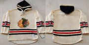 Wholesale Blackhawks Blank Cream Heavyweight Pullover Hoodie Stitched NHL Jersey