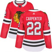 Wholesale Cheap Adidas Blackhawks #22 Ryan Carpenter Red Home Authentic Women's Stitched NHL Jersey