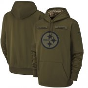 Wholesale Cheap Men's Pittsburgh Steelers Nike Olive Salute to Service Sideline Therma Performance Pullover Hoodie