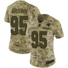 Wholesale Cheap Nike Panthers #95 Derrick Brown Camo Women\'s Stitched NFL Limited 2018 Salute To Service Jersey
