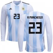 Wholesale Cheap Argentina #23 A.Marchesin Home Long Sleeves Kid Soccer Country Jersey