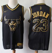 Wholesale Cheap Nike Bulls #23 Michael Jordan Black Gold NBA Swingman Limited Edition Jersey