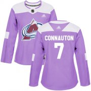 Wholesale Cheap Adidas Avalanche #7 Kevin Connauton Purple Authentic Fights Cancer Women's Stitched NHL Jersey