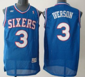 Wholesale Cheap Philadelphia Sixers #3 Allen Iverson Blue With SIXERS Swingman Throwback Jersey