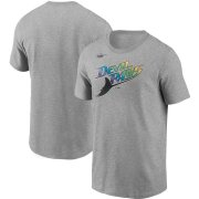 Wholesale Cheap Tampa Bay Rays Nike Cooperstown Collection Wordmark T-Shirt Heathered Gray