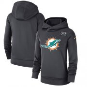 Wholesale Cheap Women's Miami Dolphins Nike Anthracite Crucial Catch Performance Pullover Hoodie