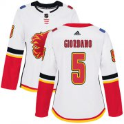 Wholesale Cheap Adidas Flames #5 Mark Giordano White Road Authentic Women's Stitched NHL Jersey