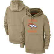 Wholesale Cheap Men's Denver Broncos Nike Tan 2019 Salute to Service Sideline Therma Pullover Hoodie