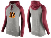 Wholesale Cheap Women's Nike Cincinnati Bengals Performance Hoodie Grey & Red_3