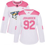 Wholesale Cheap Adidas Predators #92 Ryan Johansen White/Pink Authentic Fashion Women's Stitched NHL Jersey