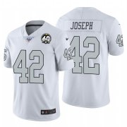 Wholesale Cheap Nike Raiders #42 Karl Joseph White 60th Anniversary Patch Men's Stitched NFL 100 Limited Color Rush Jersey