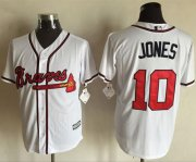 Wholesale Cheap Braves #10 Chipper Jones White New Cool Base Stitched MLB Jersey