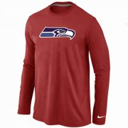 Wholesale Cheap Nike Seattle Seahawks Logo Long Sleeve T-Shirt Red