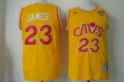 Wholesale Cheap Men's Cleveland Cavaliers #23 LeBron James 2015 The Finals CavFanatic Yellow Hardwood Classics Soul Swingman Throwback Jersey