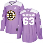 Wholesale Cheap Adidas Bruins #63 Brad Marchand Purple Authentic Fights Cancer Youth Stitched NHL Jersey