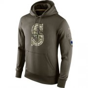 Wholesale Cheap Men's Seattle Mariners Nike Olive Salute To Service KO Performance Hoodie