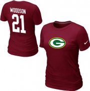 Wholesale Cheap Women's Nike Green Bay Packers #21 Charles Woodson Name & Number T-Shirt Red