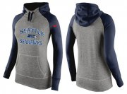 Wholesale Cheap Women's Nike Seattle Seahawks Performance Hoodie Grey & Dark Blue_2