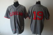 Wholesale Mitchell and Ness Indians #19 Bob Feller Grey Stitched Throwback Baseball Jersey