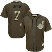 Wholesale Cheap Indians #7 Kenny Lofton Green Salute to Service Stitched MLB Jersey
