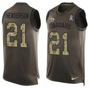 Wholesale Cheap Nike Jaguars #21 C.J. Henderson Green Men's Stitched NFL Limited Salute To Service Tank Top Jersey