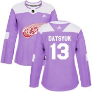 Wholesale Cheap Adidas Red Wings #13 Pavel Datsyuk Purple Authentic Fights Cancer Women's Stitched NHL Jersey