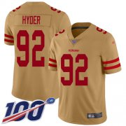 Wholesale Cheap Nike 49ers #92 Kerry Hyder Gold Youth Stitched NFL Limited Inverted Legend 100th Season Jersey
